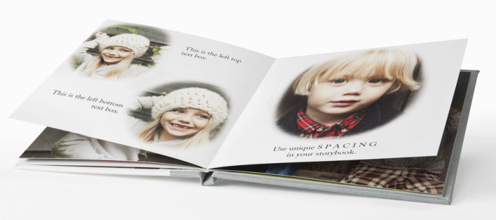 An elegant hardcover photobook showing pictures of children at various ages.