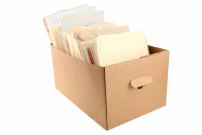 BAnker's box filer with documents in folders.