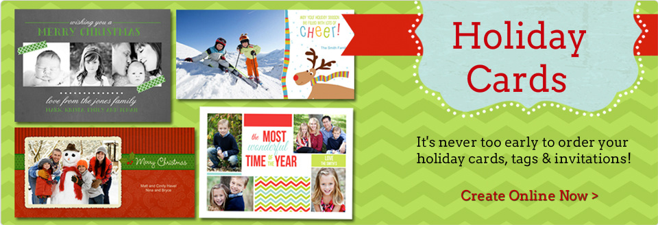Holiday cards banner. Create online now.