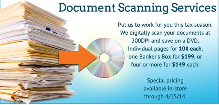 Document scanning services. Put us to work for you this tax season. We digitally scan your documents at 200dpi and save on a DVD.