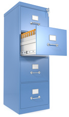 Filing cabinet with four drawers full of files and important documents.