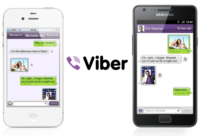 Viber app used between an iPhone and Android phone by Samsung.