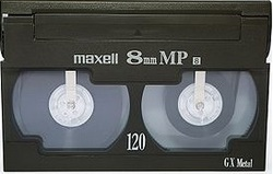 Maxell Video8, 8mm video cassette tape.