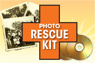 Photograph rescue kit: get up to 600 photos digitally scanned and converted to a DVD, with originals returned safely.