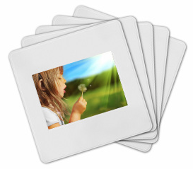 Stack of photo slides with image of little girl making a wish on a dandelion.