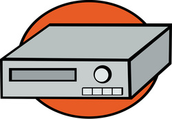 Graphic of an old in-home VCR.