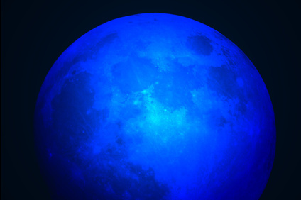 Moon taken with blue color lens filter.
