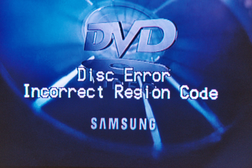 DVD error for incorrect regional code.